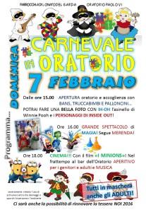 volantino carnevale oratorio 2016
