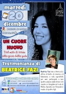 locandina testimonianza BEATRICE FAZI basilica 20 dicembre 2016